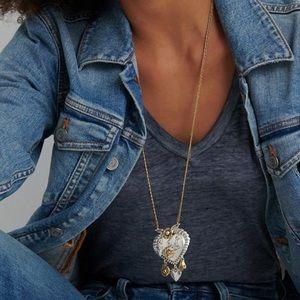 NEW 6 Charm heart pendant/necklace long length